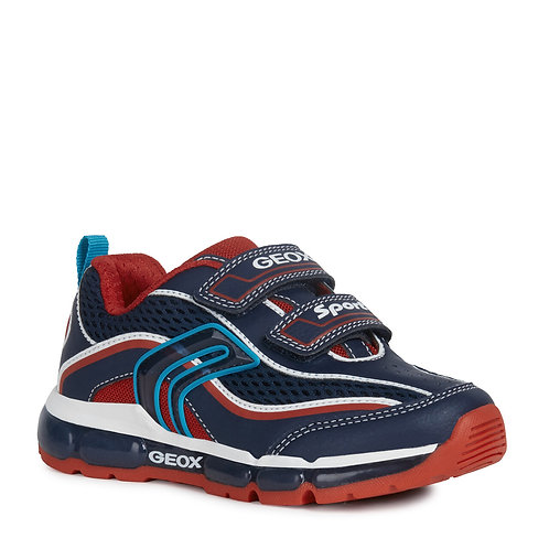 Geox J Android Active Light Up Trainers, Navy & Red