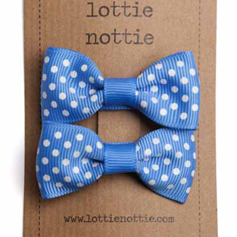 Lottie Nottie Pair of Small Bows, French Blue Swiss Dot