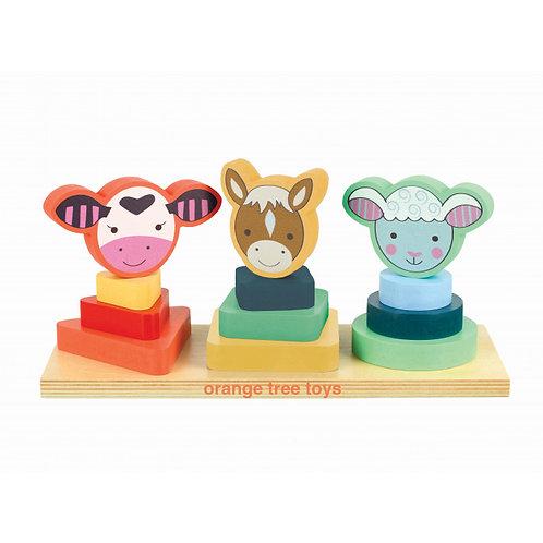 Orange Tree Toys Farm Animal Shape Stacker