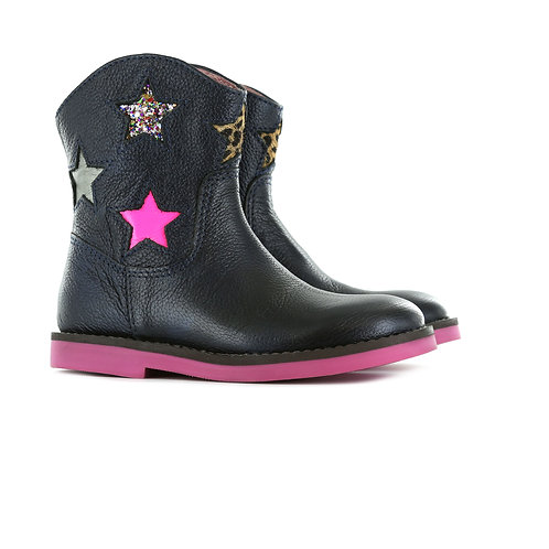 Shoesme SI9W079-G Navy Leather Boots With Star Detail