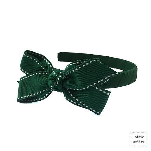 Lottie Nottie Alice Band, Dark Green Stitch