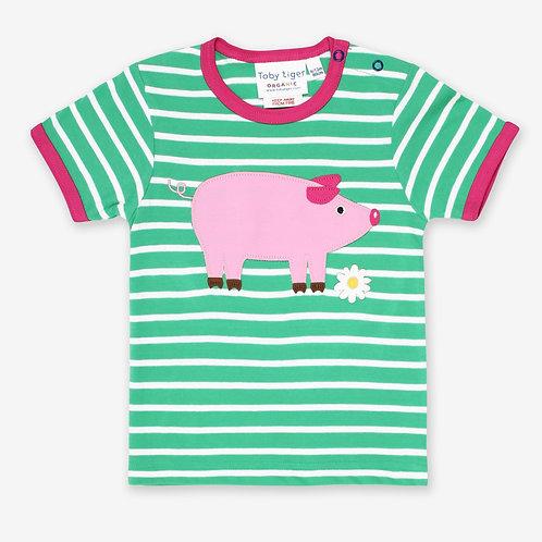 Toby Tiger Organic Pig Applique Tshirt