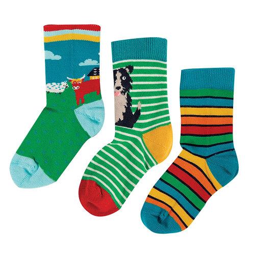 Frugi Rock My Socks 3 Pack, Highland Cow Multi
