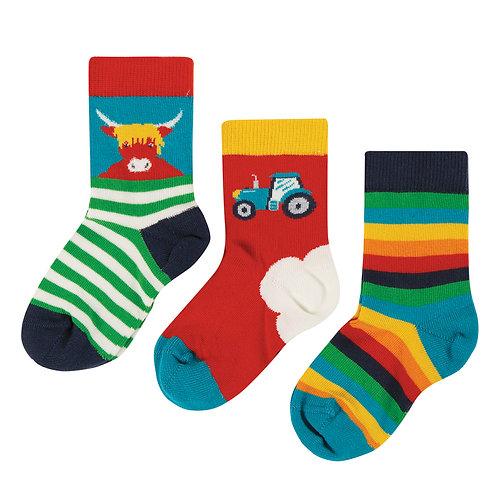 Frugi Little Socks 3 Pack, Tractor