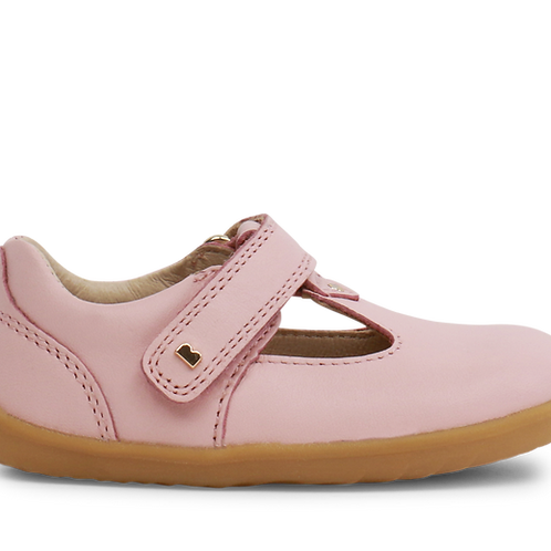 Bobux Step-Up Louise T-Bar Shoes, Seashell Pink