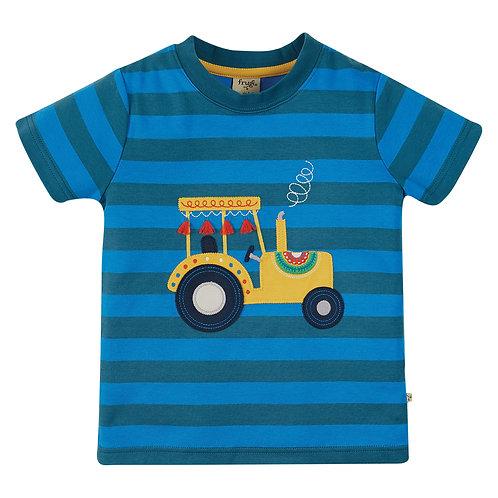 Frugi Sid Applique T-Shirt, Blue Stripe/Tractor