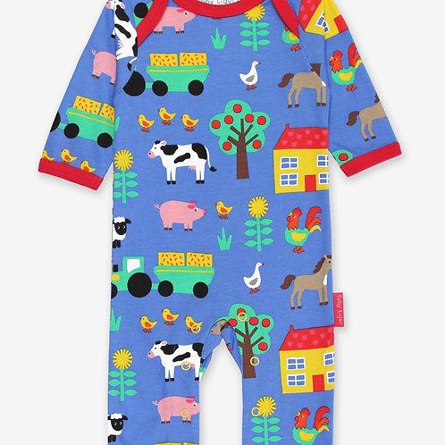 Toby Tiger Organic Farm Print Sleepsuit