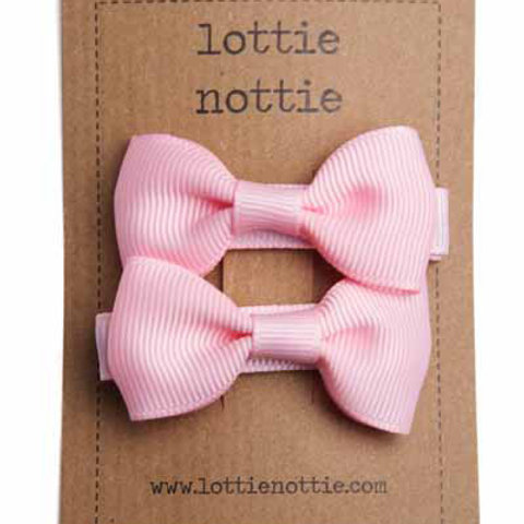 Lottie Nottie Pair of Small Bows, Solid Pale Pink