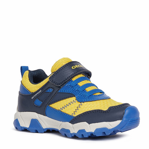 Geox J Magnetar Casual Sport Trainers, Navy & Yellow
