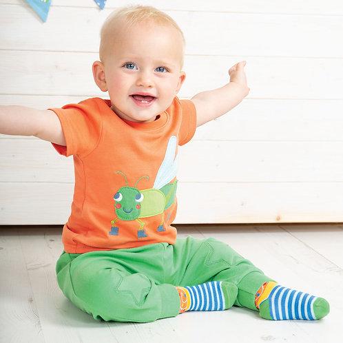 Frugi Little Creature Applique T-shirt, Warm Orange/Grasshopper