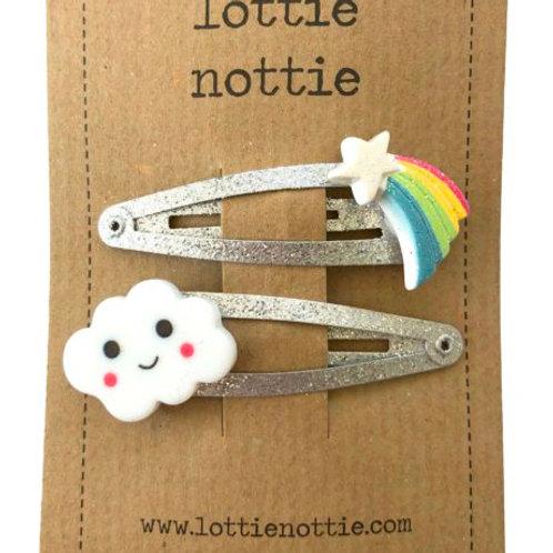 Lottie Nottie Hair Clips,  Shooting Star & Cloud