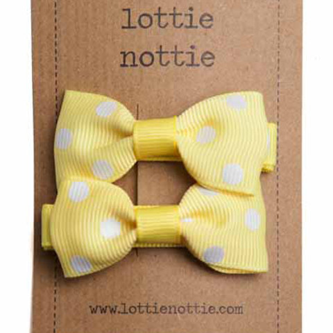 Lottie Nottie Pair of Small Bows, Pale Yellow & White Polka Dot