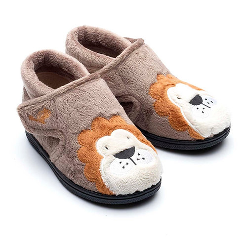 Chipmunk Lionel Lion Slippers, Brown