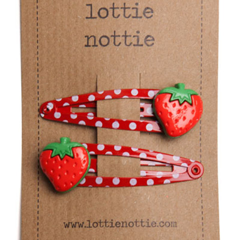 Lottie Nottie Strawberries on Red Spotty Hair Clips