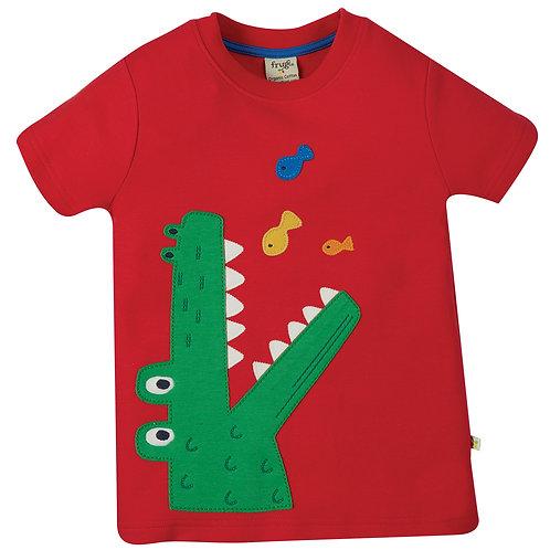 Frugi Carsen Applique Tshirt, True Red/Croc