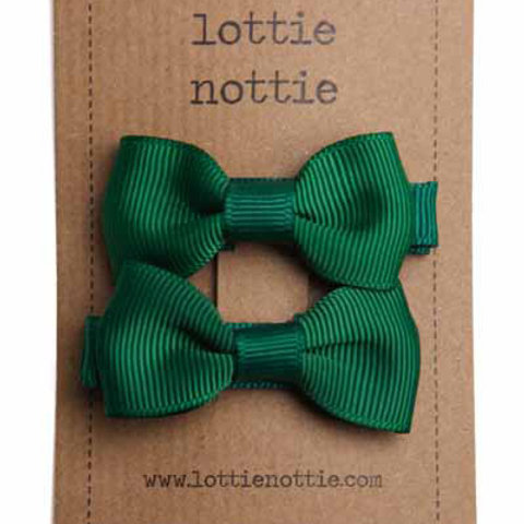 Lottie Nottie Pair of Small Bows, Solid Dark Green