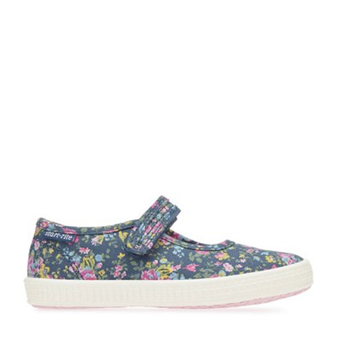 Startrite Posy, Navy Floral Canvas