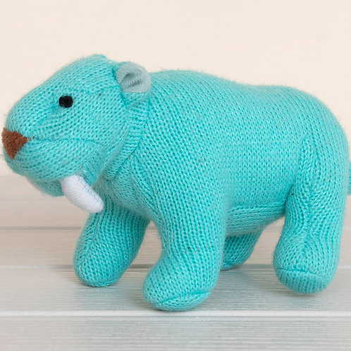 Best Years Knitted Sabre Tooth Tiger Rattle, Ice Blue