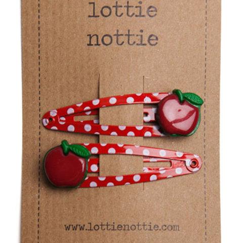 Lottie Nottie Red Apples on Red Spotty Hair Clips
