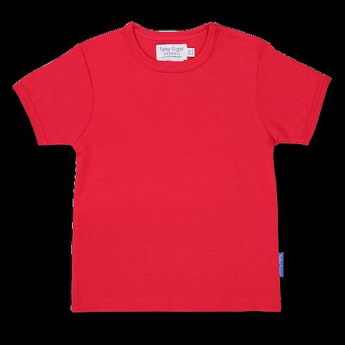 Toby Tiger Organic Basic T Shirt , Red