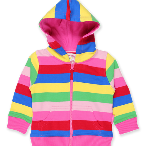 Toby Tiger Organic Pink Multi Stripe Hoodie