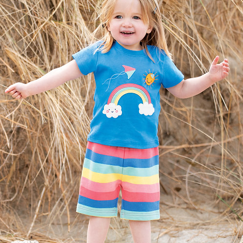 Frugi Little Sydney Shorts Bright Rainbow Stripe