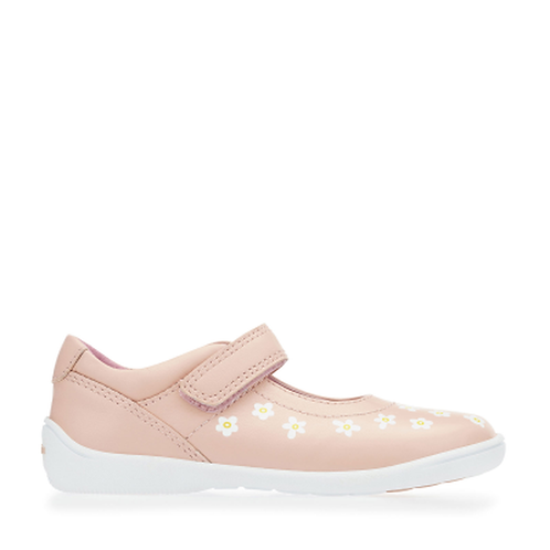 Startrite Shine Leather Shoe, Pink With Daisy Detail