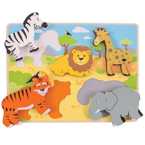 Bigjigs Chunky Lift Out Puzzle, Safari