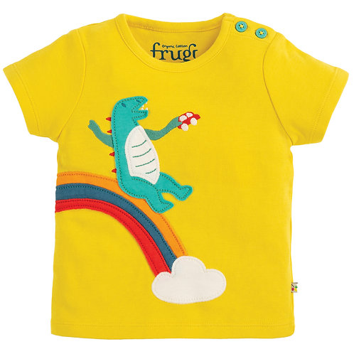 Frugi Scout AppliqueTop, Sunflower/Dino
