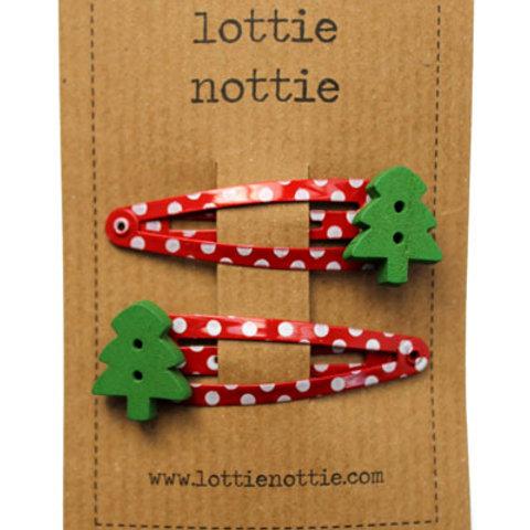 Lottie Nottie Hair Clips, Christmas Tree on Red Spotty