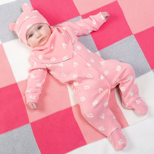 Kite Polka Farm Sleepsuit, Pink