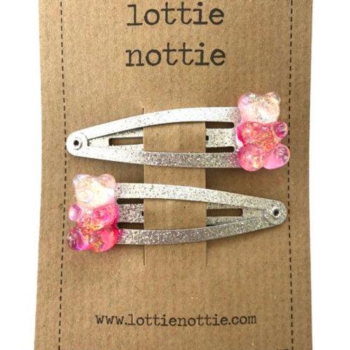 Lottie Nottie Hair Clips, Pink Gummi Bears