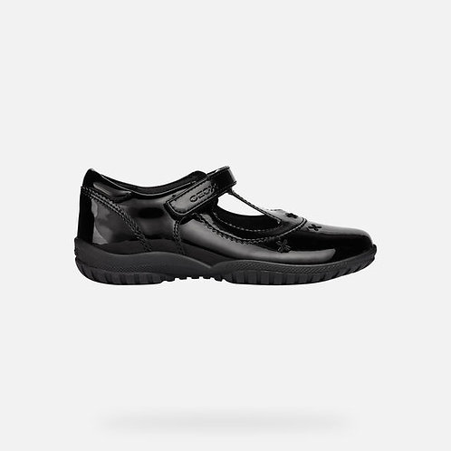 Geox Shadow Black Patent T-Bar School Shoe