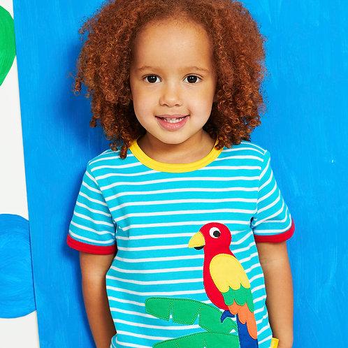Toby Tiger Organic Parrot Applique T-Shirt