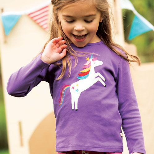 Frugi Discovery Applique Top, Thistle/Unicorn