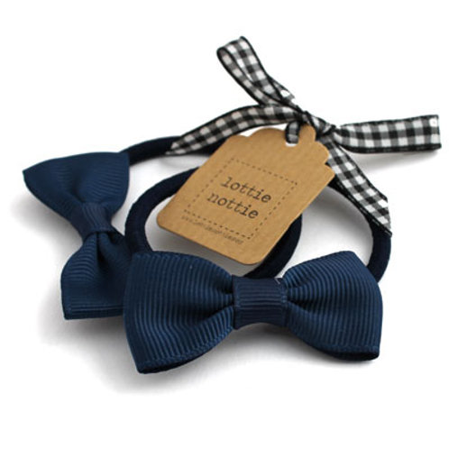 Lottie Nottie Small Bows on Hair Band (Pair), Solid Navy
