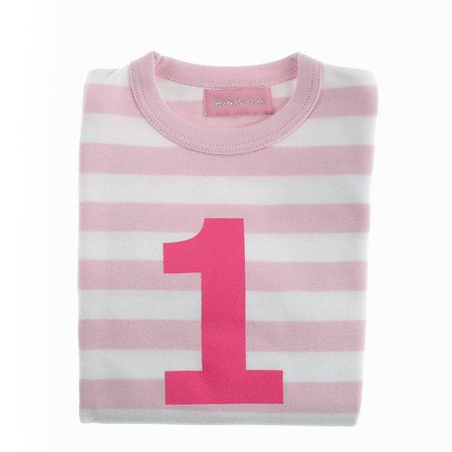 Bob & Blossom Pale Pink & White Striped Number Tshirt