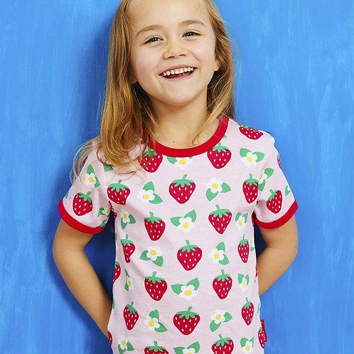 Toby Tiger Organic Strawberry Flower Print Tshirt