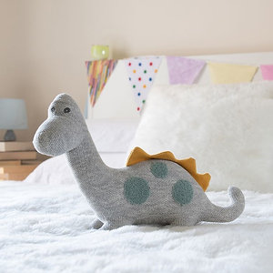 Best Years Knitted Large Diplodocus - Grey, Mustard & Teal