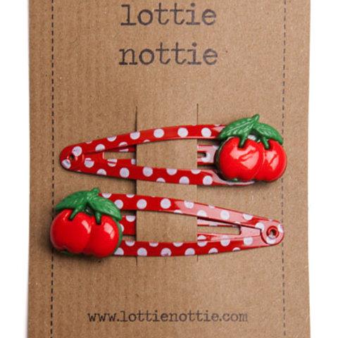 Lottie Nottie Cherries on Red Spotty Hair Clips