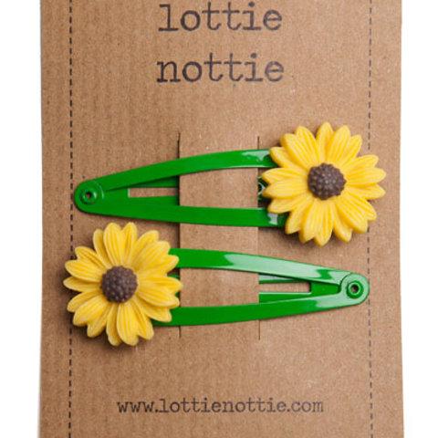Lottie Nottie Sunflower on Green Hair Clips