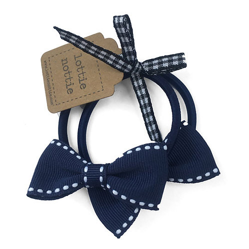 Lottie Nottie Small Bows on Hair Bands (Pair), Navy & White Stitch