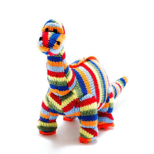 Best Years Small Striped Knitted Diplodocus Rattle