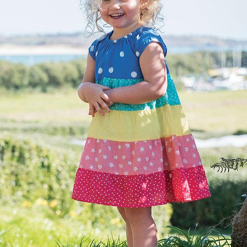 Frugi Dorothy Twirly Dress, Rainbow Hotchpotch