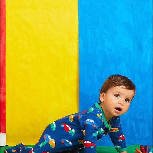 Toby Tiger Organic Car Print Sleepsuit