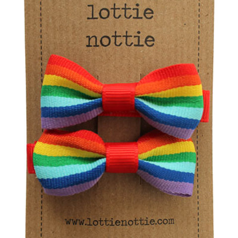 Lottie Nottie Pair of Small Bows, Rainbow