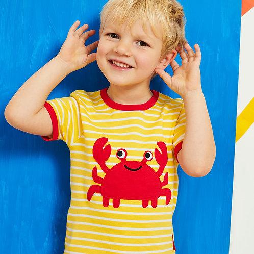 Toby Tiger Organic Crab Applique T-Shirt