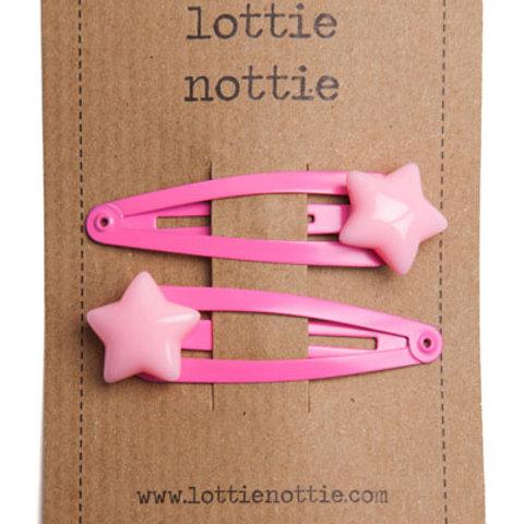 Lottie Nottie Hair Clips, Pale Pink Stars on Bright Pink