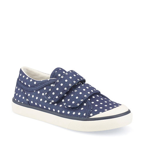 Startrite Bounce Canvas, Navy Polka Dot