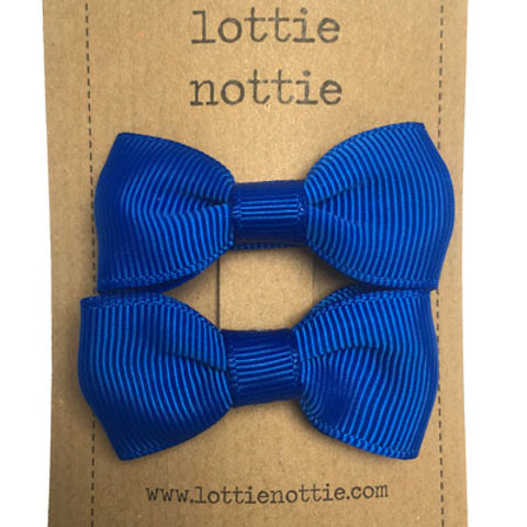 Lottie Nottie Pair of Small Bows, Solid Royal Blue